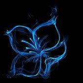 Постер, плакат: Perfect blue Огненный цветок на черном фоне
