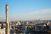 pic of milan  - Landscape panoramic view of Milan from Duomo cathedral roof - JPG