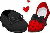 foto of high heels shoes  - Illustration of a Pair of Shoes for Men and Women - JPG