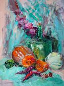 Постер, плакат: Oil Painting Impressionism Style The Texture Of Oil Painting Flower Still Life Painting Art Paint