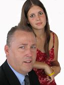 stock photo of niece  - picture of a distinguished father and daughter - JPG