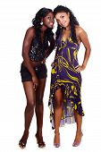 stock photo of bare midriff  - two happy African American beautiful girl friends in party dress and shorts isolated on white background - JPG