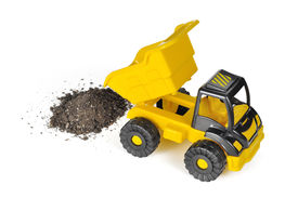 stock photo of dump_truck  - Yellow Toy Haul Truck - JPG