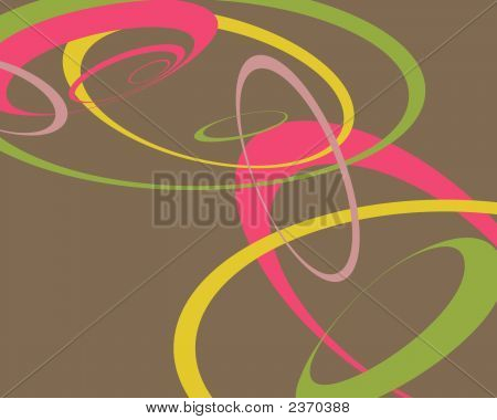 Retro Pink, Yellow And Green Swoopy Circles Background