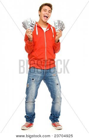 Young man holding money