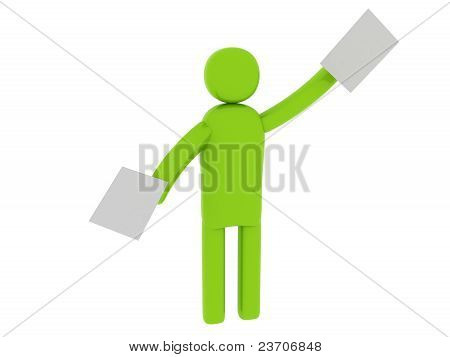 Green Man With Papers - Social Themes