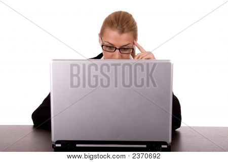 Businesswoman Working By Laptop