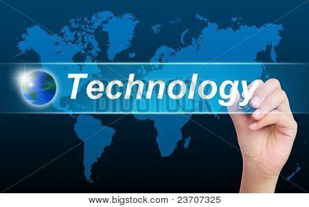 women hand writing technology