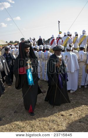 Christian Orthodox Priests At The Timket Festival.