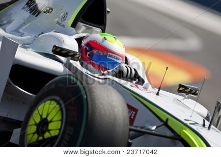 VALENCIA, SPAIN - AUGUST 22: Formula 1 Grand Prix of Europe in Valencia Street Circuit - Jenson Button with Brawn F1 August 22, 2009 in Valencia, Spain