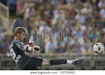 VALENCIA, SPAIN - SEPTEMBER 22 - FootBall Match of Spanish Professional Soccer League between Valencia C.F. vs AT. Madrid - Mestalla Luis Casanova Stadium - David de Gea - Spain on September 22, 2010