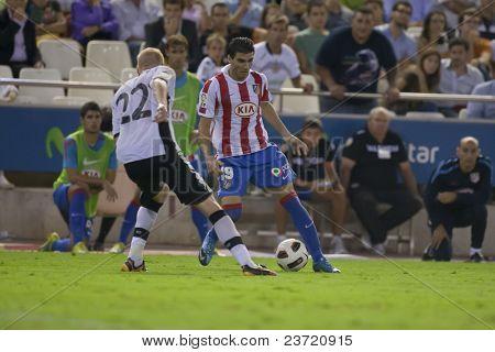 VALENCIA, SPAIN - SEPTEMBER 22 - FootBall Match of Spanish Professional Soccer League between Valencia C.F. vs AT. Madrid - Mestalla Luis Casanova Stadium - Reyes - Spain on September 22, 2010