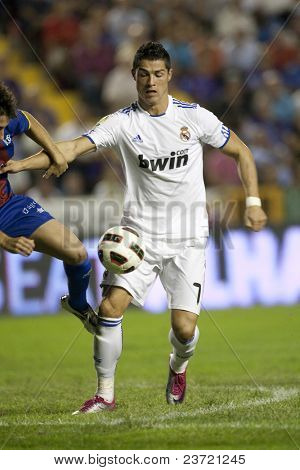 VALENCIA, SPAIN - SEPTEMBER 25 - Spanish Professional Soccer League, Levante U.D. vs Real Madrid - Ciudad de Valencia Stadium - Cristiano Ronaldo - Spain on September 25, 2010