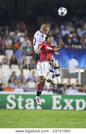 VALENCIA, SPAIN - SEPTEMBER 29: UEFA Champions League, Valencia C.F. vs Manchester United, Mestalla Stadium, First Nani, Mathieu, Spain on September 29, 2010