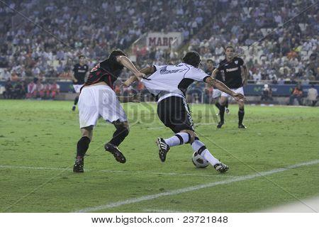 VALENCIA, SPAIN - OCTOBER 2 - Professional Soccer League between Valencia C.F. vs AT. Bilbao - Mestalla Stadium, #8 Dominguez, San jose, Spain on OCTOBER 2, 2010