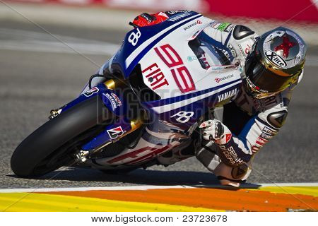 VALENCIA, SPAIN - NOVEMBER 6: Jorge Lorenzo in motogp Grand Prix of the Comunitat Valenciana, Ricardo Tormo Circuit of Cheste, Spain on november 6, 2010