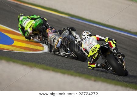 VALENCIA, SPAIN - NOVEMBER 7: #31 Carmelo Morales in motogp Grand Prix of the Comunitat Valenciana, Ricardo Tormo Circuit of Cheste on November 7, 2010 in Valencia, Spain