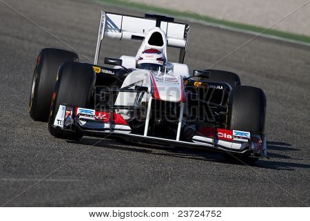VALENCIA, SPAIN - FEBRUARY 1: F1 Winter Test - Kobayashi, Sauber Team - on February 1, 2011 in Cheste, Valencia, Spain