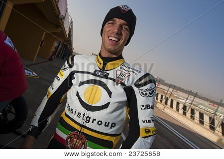 VALENCIA, SPAIN - FEBRUARY 10: - Moto2 and 125cc Test - Alex de Angelis - on February 10, 2011 in Cheste, Valencia, Spain