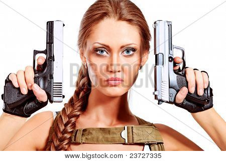 Shot of a sexy military woman posing with guns. Isolated over white.