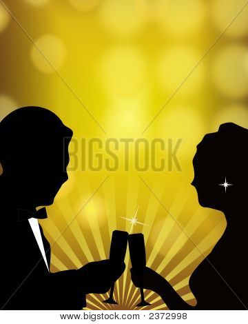 Romantic Couple Toasting - Illustration