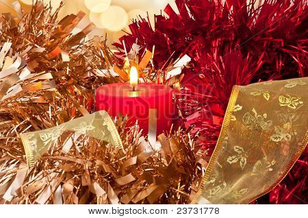 Christmas Candle Light And Ribbon