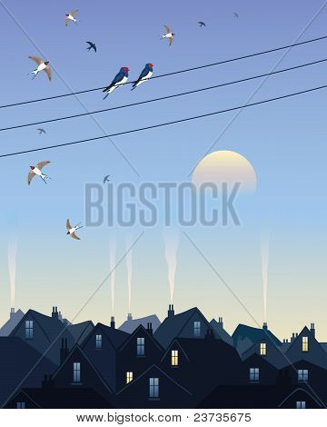 Swallows Leaving The City