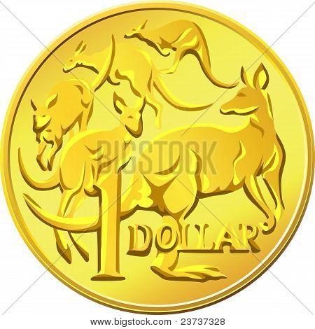 Vector Australian Money, Gold Dollar With The Image Of A Kangaroo Five