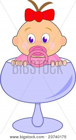 Baby girl (Thumbelina) with red bow in blue glass