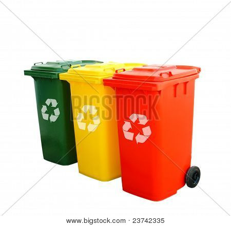 Colorful Recycle Bins Isolated