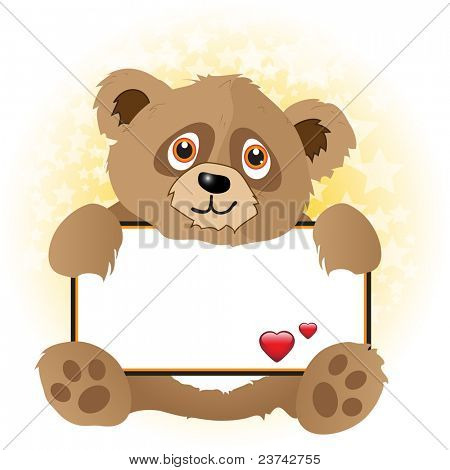 A cute cartoon bear holding a banner with hearts on subtle star background. Space for your text. Also available in vector format