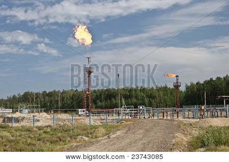 Flame From Burning By-products Of Manufacture Of Fuel.
