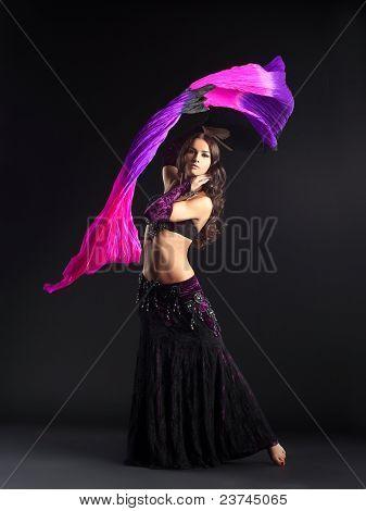 beauty girl posing in traditional arabian costume