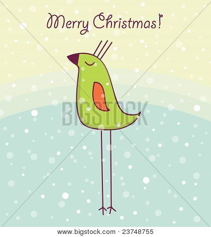 New year card with cute bird