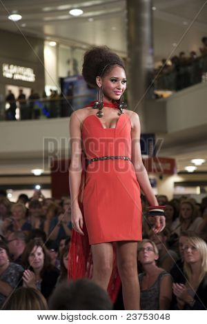 SOUTHAMPTON, UK - SEPT. 22: A model walks the catwalk on September 22, 2011 during the filming of