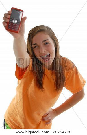 Happy Teenage Girl Screaming Holding Cell Phone Upward