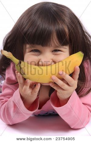 Little Girl With Banana Smile
