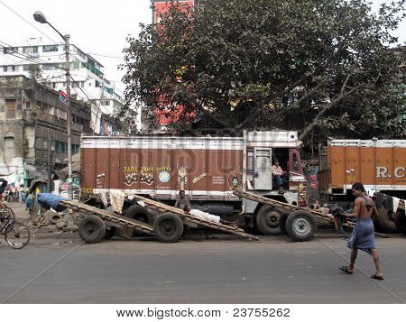 Trucks And Carts Wait For Customers