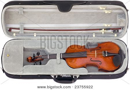 Open box with Violin isolated on white background