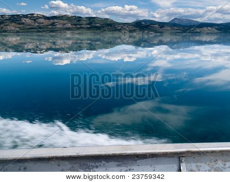 Motorboat Trip on Lake Laberge, Yukon T., Canada