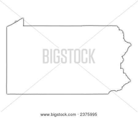 Pennsylvania (Usa) Outline Map With Shadow