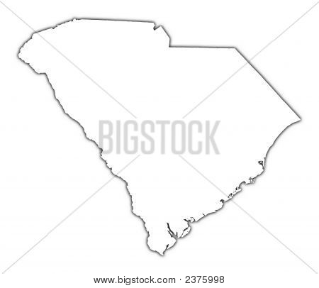 South Carolina (Usa) Outline Map With Shadow