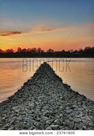 Sunset at Rhein river, Wörth near Karlsruhe, Germany