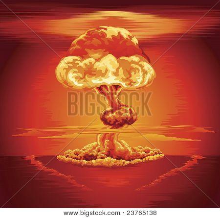 Nuvem de cogumelo da explosão nuclear