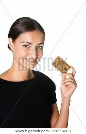 Pretty young woman with a credit card