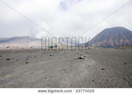 Caldeira Of Bromo's Volcano And Batok Cone