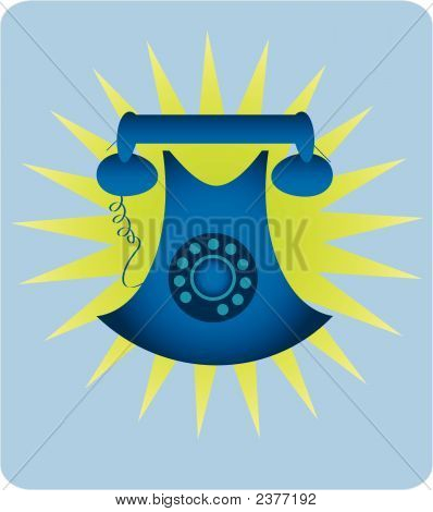 Blue Retro Telephone