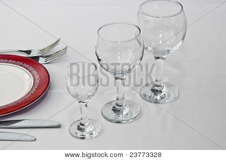 Tableware For Dinner In Restaurant