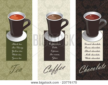 Elegance designs depicting various beverages: coffee, tea and chocolate. Vector illustration.