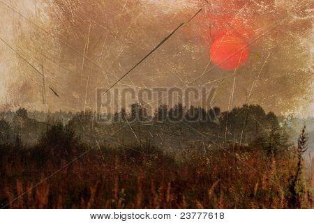 grunge image of field under sunset  sky